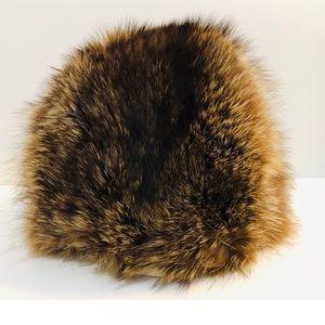 Vintage Accessories - Vintage Genuine Chestnut Fox Fur Winter Hat lined